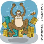 giant ape rampages in an urban... | Shutterstock .eps vector #1403045978