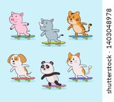 animals playing skateboard... | Shutterstock .eps vector #1403048978