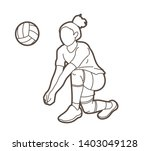 woman volleyball player action... | Shutterstock .eps vector #1403049128