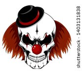 skull of a clown with red hair... | Shutterstock .eps vector #1403131838