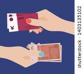 exchange of money. women hand... | Shutterstock .eps vector #1403135102