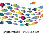 Cute Fish. Vector Sea Poster.