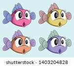 Stock vector cute vector surprised fish female cartoon character funny shocked little fish four colors 1403204828