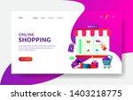 landing page template of online ... | Shutterstock .eps vector #1403218775