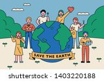 people who stand around the big ... | Shutterstock .eps vector #1403220188