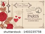 retro postcard with eiffel... | Shutterstock .eps vector #1403235758