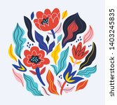 vector abstract flowers and... | Shutterstock .eps vector #1403245835