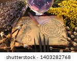 old book with wiccan holidays... | Shutterstock . vector #1403282768