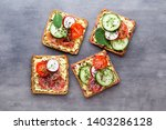 variety of mini sandwiches with ... | Shutterstock . vector #1403286128
