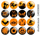 glossy halloween icons   part 2 ... | Shutterstock .eps vector #14033830