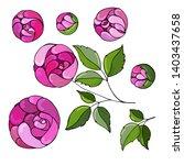 set flowers   pions  botanical...   Shutterstock .eps vector #1403437658