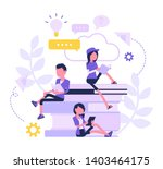 student friends reading books.... | Shutterstock .eps vector #1403464175