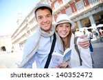 couple standing in la plaza... | Shutterstock . vector #140352472