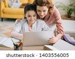 happy mother embracing smiling... | Shutterstock . vector #1403556005