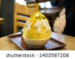 mango kakigori  bingsu   ...   Shutterstock . vector #1403587208
