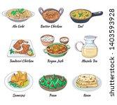 indian food set. asian... | Shutterstock .eps vector #1403593928
