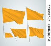 orange vector flags. a set of 5 ... | Shutterstock .eps vector #140365672