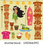 Hawaii Symbols and Icons, including Hula dancer, tiki gods, totem pole, drums, tiki torches and Hawaiian shirt - stock vector