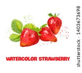 watercolor strawberry branch on ...   Shutterstock .eps vector #1403673698