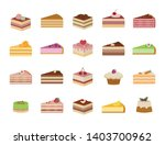 set of sweet yummy cakes.... | Shutterstock .eps vector #1403700962