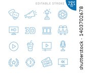 cinema related icons. editable... | Shutterstock .eps vector #1403702678