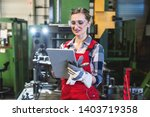 skilled female worker with...   Shutterstock . vector #1403719358