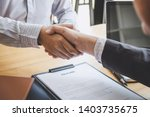 greeting new colleagues ... | Shutterstock . vector #1403735675