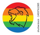 rainbow circle with lion animal.... | Shutterstock .eps vector #1403761385