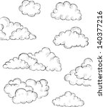 vintage hand drawn clouds eps8... | Shutterstock .eps vector #140377216