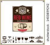 vector vintage red wine label.... | Shutterstock .eps vector #1403859242