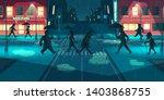 rain in night city cartoon...   Shutterstock .eps vector #1403868755