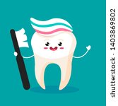 cute happy smiling tooth with... | Shutterstock . vector #1403869802