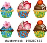 set of three types of cupcake... | Shutterstock .eps vector #140387686