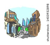 freehand drawing of old city.... | Shutterstock . vector #1403932898