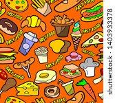 fast food. seamless pattern... | Shutterstock . vector #1403933378