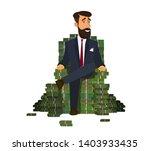 happy rich man sitting... | Shutterstock .eps vector #1403933435