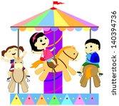 children ride on the carousel | Shutterstock .eps vector #140394736