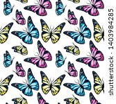 Stock vector bright colorful flying butterflies seamless pattern on white background vector illustration 1403984285
