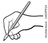 hand with pencil. black and... | Shutterstock .eps vector #14039914