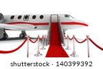 Business Jet And Red Carpet On...