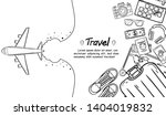 doodle airplane check in point...   Shutterstock .eps vector #1404019832