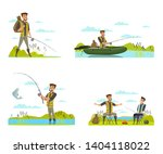 Fisherman On Fishing Vector...