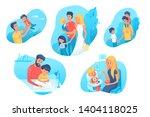 family time flat illustrations...   Shutterstock .eps vector #1404118025