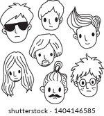 doodle crowd face icon vector 2 | Shutterstock .eps vector #1404146585