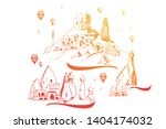 cappadocia. hand drawn turkish... | Shutterstock .eps vector #1404174032