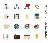 business icons and office icons ... | Shutterstock .eps vector #140421652