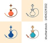 hookah icon set in flat and... | Shutterstock .eps vector #1404229202
