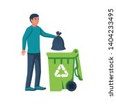 man throwing trash bags in... | Shutterstock .eps vector #1404233495