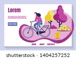 young girl riding bicycle in... | Shutterstock .eps vector #1404257252