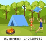 children in summer camp flat... | Shutterstock .eps vector #1404259952